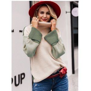 BAILEY- Block Panel Turtleneck Sweater